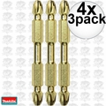 "Makita B-39590 4x 3pk Impact GOLD #3 2-1/2"" Phillips Power Bits Double-Ended"