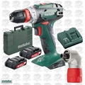 "Metabo US602217620 18V 3/8"" Drill/Driver 2x Batts,Charger,Rt Angle Adptr"