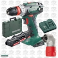 "Metabo US602217620 18V 3/8"" Drill/Driver 3x 2Ah Batts+Charger+RA Attachment"