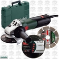"Metabo W9-115KIT 4-1/2"" 8.5A Angle Grinder w/Diamond Wheel + 10pk Cut Wheels"