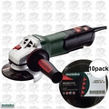 "Metabo WP9-115Q 4-1/2"" 8 AMP Angle Grinder Non-Locking Paddle + 10pk Wheels"