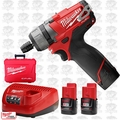 "Milwaukee 2402-22 M12 1/4"" Hex 2 Spd Screwdriver 3 Batteries 1x 6.0Ah Batt"
