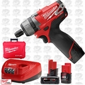 "Milwaukee 2402-22 M12 1/4"" Hex 2 Speed Screwdriver Kit w/ 3 Batteries"