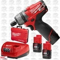 "Milwaukee 2402-22 M12 1/4"" Hex 2 Speed Screwdriver Kit"