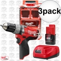 Milwaukee 2404-21P M12 FUEL Hammer Drill Kit w/ Free PACKOUT Case 3x