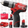 "Milwaukee 2404-22 12 Volt M12 FUEL 1/2"" Hammer Drill/Driver Kit 3xBatt"