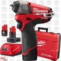 "Milwaukee 2452-22 M12 FUEL 1/4"" Impact Wrench 3 Battery Kit w/1x 6.0ah"