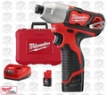 """Milwaukee 2462-22 M12 1/4"""" Hex Impact Driver Lithium-Ion 2-Battery Kit"""