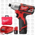 "Milwaukee 2462-22 M12 1/4"" Hex Impact Driver Lithium-Ion 2-Battery Kit"
