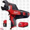 Milwaukee 2472-20 M12 12V 600 MCM Cable Cutter w/ 2.0Ah Battery + Charger