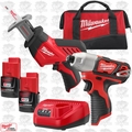 Milwaukee 2491-22 M12 Cordless LI-Ion Hackzall + Hex Impact Combo Kit