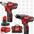 Milwaukee 2494-22 M12 Drill / Impact Combo Kit 3 Batts 1x 6.0Ah Batt