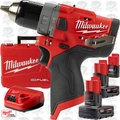 Milwaukee 2504-22 M12 FUEL 1/2'' Hammer Drill w/ 3 Batts+Charger Kit