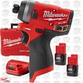 "Milwaukee 2553-22 M12 FUEL 1/4"" Hex Impact Driver w/ 2 2.0ah Batts + Charger"