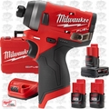 "Milwaukee 2553-22 M12 FUEL 1/4"" Hex Impact Driver w/ 2 2Ah Batts + Charger"