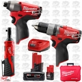 Milwaukee 2597-22 M12 FUEL Hammer Drill + Impact + Ratchet Combo 3pc Kit