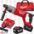 "Milwaukee 2713-22HD M18 Fuel 1"" SDS+ D-Handle Rotary Hammer 2x 9.0 Batts O-B"