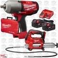 "Milwaukee 2763-22 M18 FUEL 1/2"" High Torque Impact Wrnch KIT + Grease Gun"