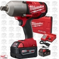 "Milwaukee 2764-22 M18 FUEL 3/4""dr Impact Wrench w/Hog Ring Kit 5.0ah Batt OB"