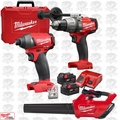 Milwaukee 2897-22 Gen 2 FUEL 18v Brushless Hammer Drill Impact 2 XC5.0's Kit