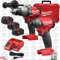 Milwaukee 2897-22 Gen 2 FUEL 18v Brushless Hammer Drill Impact Kit 3 XC5.0's