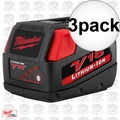 Milwaukee 48-11-1830 V18 Lithium-Ion Battery Pack 3x