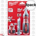 Milwaukee 48-22-2302C 8pk 10in1 Ratcheting Bits + 8in1 Stubby Multi Bits Drivers