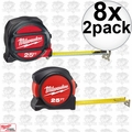 Milwaukee 48-22-5125G 8x 2pk 25' Magnetic Tape Measure w/8x FREE 25' Tape