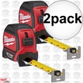 Milwaukee 48-22-7125 2pk 25' Magnetic Tape Measure