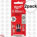 "Milwaukee 48-32-4422 2pk #2 Square Recess Shockwave 1"" Insert Bits"