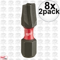 "Milwaukee 48-32-4441 8x 2pk #1 ECX Shockwave 1"" Insert Bits"