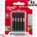 "Milwaukee 48-32-4491 4x 5pk #1 EXC 2"" Shockwave Power Bits"