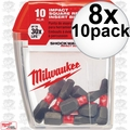 Milwaukee 48-32-4607 8x 10pk #2 Square Shockwave Insert Bit Set (48-32-4607)
