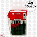 "Milwaukee 48-32-5004 4x 15pk #2 Phillips 2"" Insert Bits"
