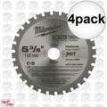 "Milwaukee 48-40-4070 4pk 5-3/8"" x 30 Tooth Ferrous Metal Blade"