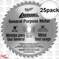 "Milwaukee 48-40-4515 25pk 8"" 42 Tooth Cermet Tip Metal Cutting Saw Blade"