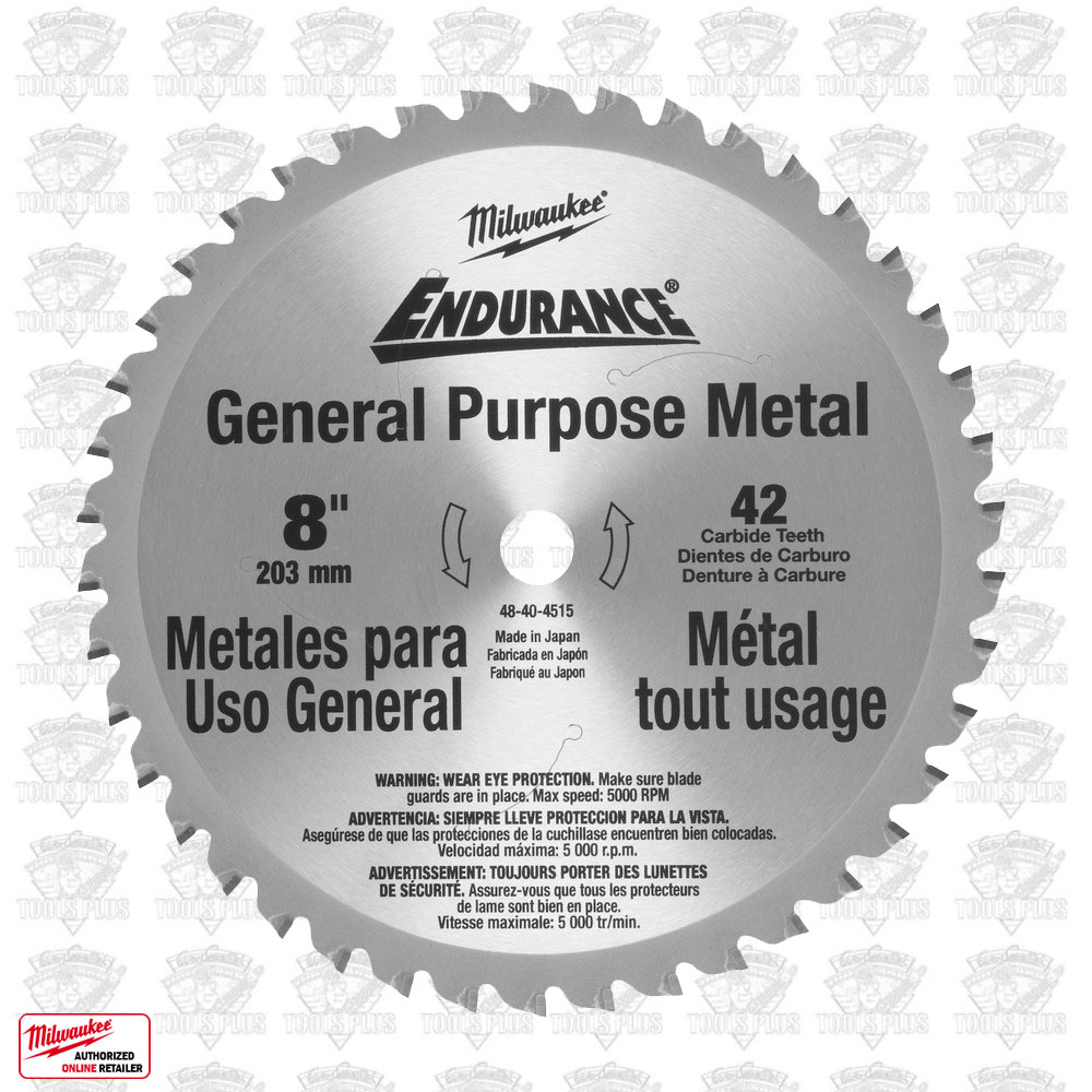Milwaukee 48 40 4515 8 42 tooth cermet tip metal cutting saw blade greentooth Image collections