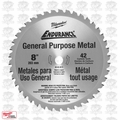 "Milwaukee 48-40-4515 8"" 42 Tooth Cermet Tip Metal Cutting Saw Blade"