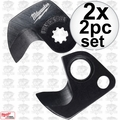 Milwaukee 48-44-0410 2x 2pc 600 MCM Replacement Cable Cutter Blade Set