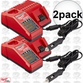 Milwaukee 48-59-1810 2x M18 / M12 Vehicle Cordless Battery Charger