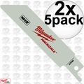 "Milwaukee 49-00-5424 2x 5pk 4"" X 18 TPI Hackzall Duct Cutting Blades"