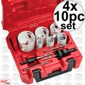 Milwaukee 49-22-4095 4x 10pc Electricians Hole Dozer Hole Saw Kit