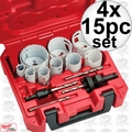 Milwaukee 49-22-4175 4x 15pc General Purpose Ice Hardened Hole Dozer Saw Kit