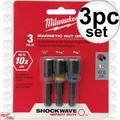 "Milwaukee 49-66-4561 1/4,5/16,3/8"" x 1-7/8"" Shockwave Magnetic Nut Driver St"