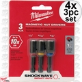 Milwaukee 49-66-4561 4x 3pc Shockwave Magnetic Nut Driver Set