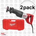 "Milwaukee 6519-31 2pk Sawzall Recip 1-1/8"" Stroke,12 Amp, 0-3,000 SPM Kit"