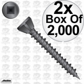 """Quik Drive WSC112S 2x 2000pk 1-1/2"""" Square Drive Collated Screws + 2 Bits"""