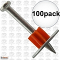 "Ramset 1512SD Box of 100 1-1/2"" Head Drive Powder Fastener"