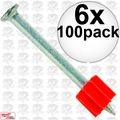 "Ramset 1516 6pk Boxes of 100 2-1/2"" Powder Fastening Pins"