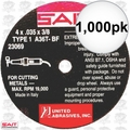 "Sait 23069 1000pk 4"" x 3/8"" x .035"" Thin Metal Cutting Wheel"